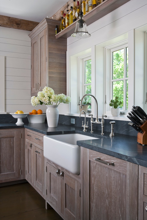 White Soapstone Countertops : Soapstone kitchen with white farmhouse sinks seattle