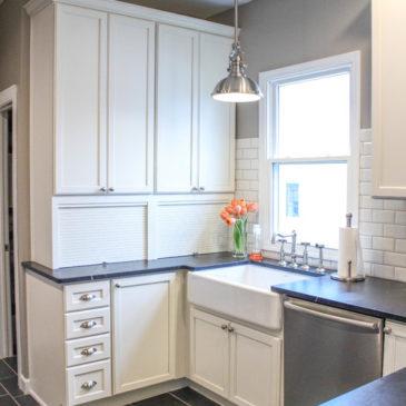 Soapstone Kitchen with white farmhouse sinks